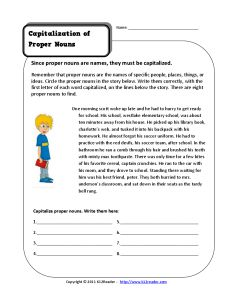 Capitalize Proper Nouns | Kindergarten and 1st Grade Noun Worksheet