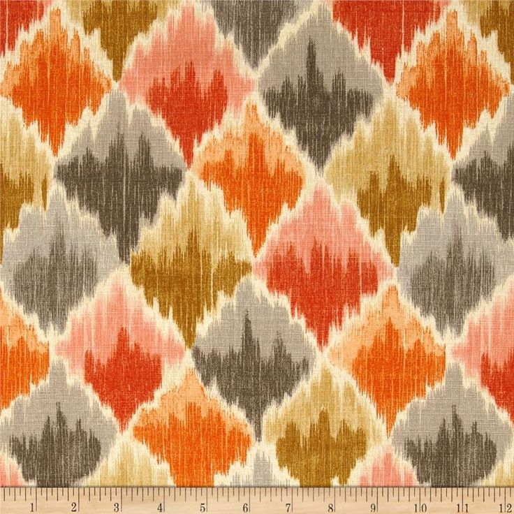 Waverly Baroque Bargello Slub Clay from @fabricdotcom  Screen printed on cotton slub duck (has the appearance of linen) this medium weight fabric is very versatile. Colors include shades of orange, grey and cream.