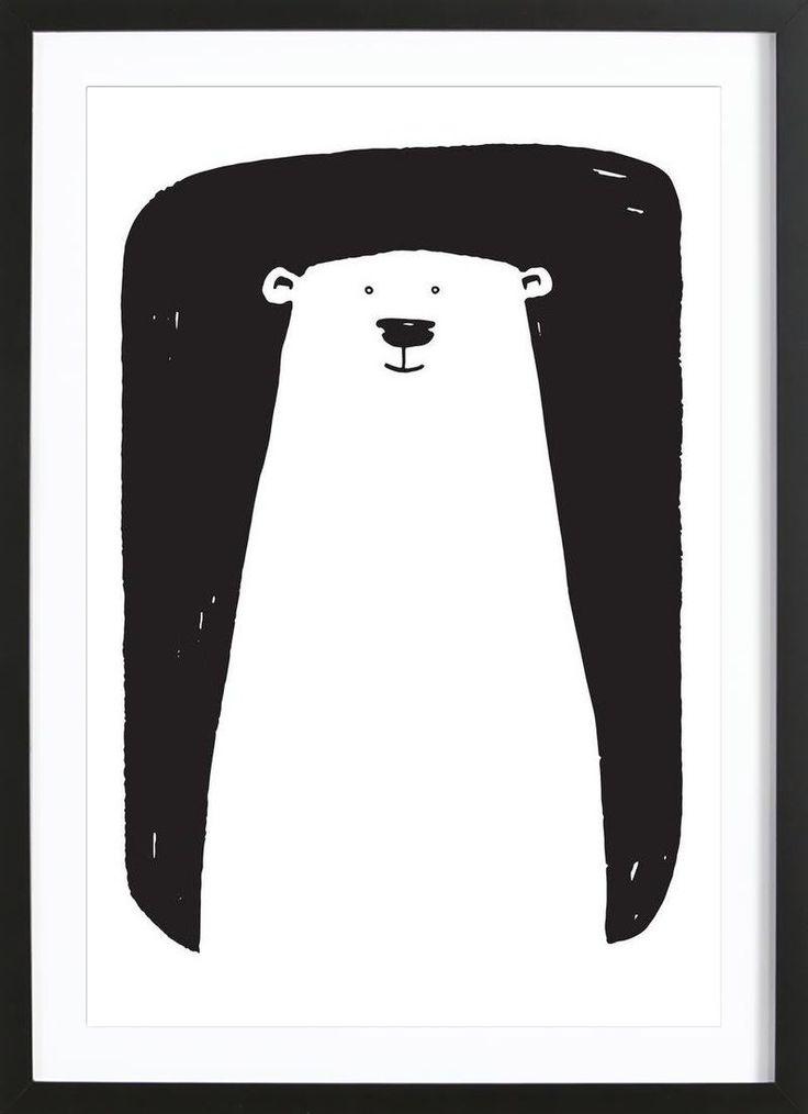 Black and white bear illustration. Bear Art Print by Richard Hood now on Juniqe.com   Art. Everywhere.