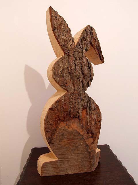 Details Zu Riesiger Osterhase Hase Aus Massivem Holz Mit Rinde Ostern