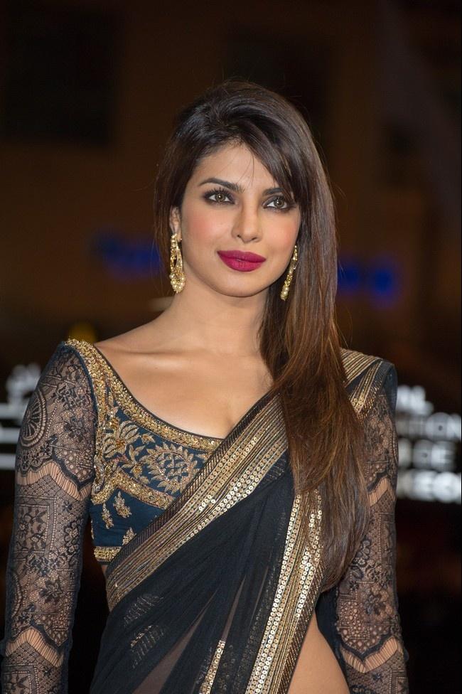 Check out Priyanka Chopras lace sleeved indian sari blouse