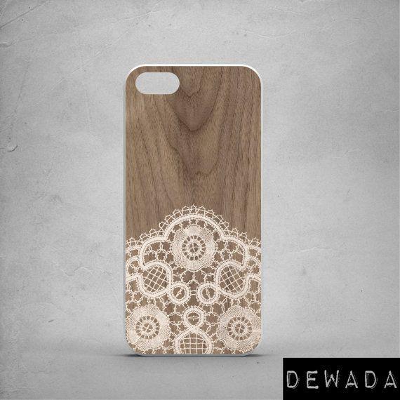 Wedding iPhone 6 case beige lace wood print romantic bride by DeWadaSTORE