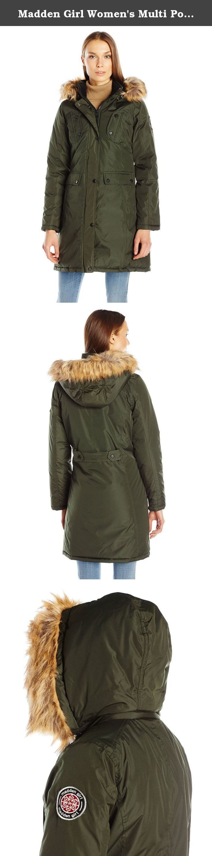 Madden Girl Women's Multi Pocket Insulated Coat, Dark Olive, S. Polyfill insulated coat with detachable faux fur trimmed hood.