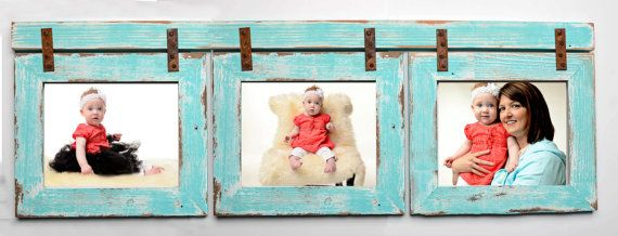 Adorable Collage frame - Turquoise - Barnwood Collage Turquoise Frame 3 5x7 Multi by rustymill