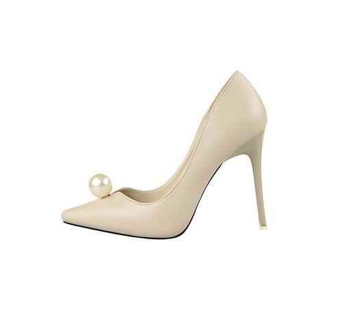 Pearl Pumps Creme Beige Stiletto Shoes Pointed High Heels PU Leather Bride Shoes #Unbranded #PumpsClassics