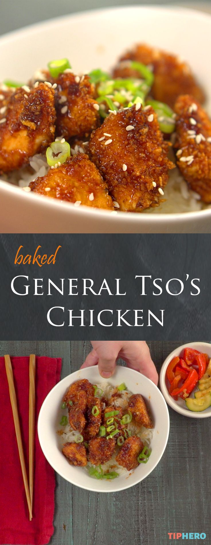 Baked General Tso's Chicken | Enjoy all the yummy sweet-and-spicy flavor of this restaurant-style favorite right at home. Bonus - the chicken is baked -- not deep-fried! -- for a slightly healthier dish. Click for the video and recipe.   #dinnertime #familydinner #takeout #homecooking