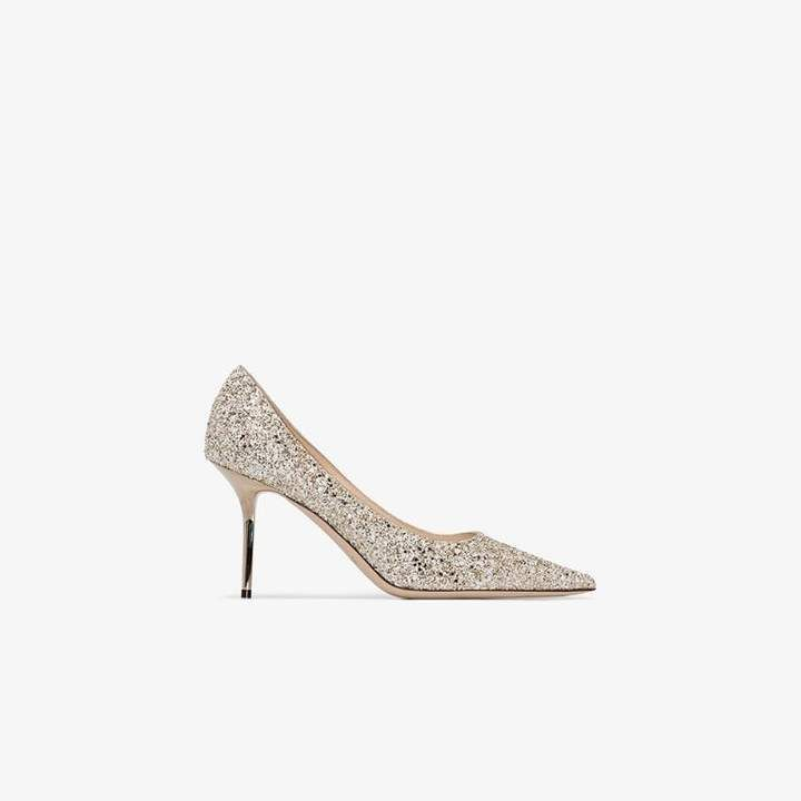 Jimmy Choo gold Love 85 glittered leather pumps in 2019