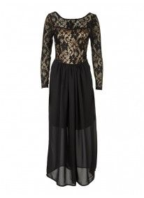 Long-sleeved Lace Maxi Dress Black