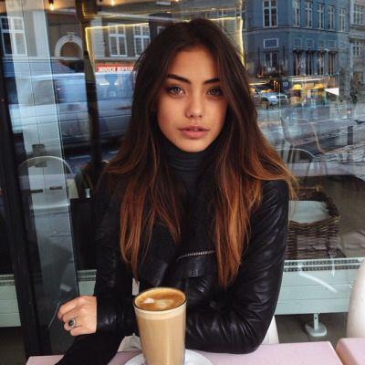 Auburn ombre balayage olive skin dark hair brunette