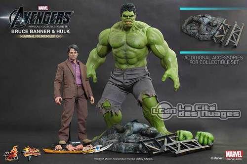 Hot Toys Avengers Bruce Banner ( Mark Ruffalo ) & Hulk Collectible Figurines Set (Regional Premium