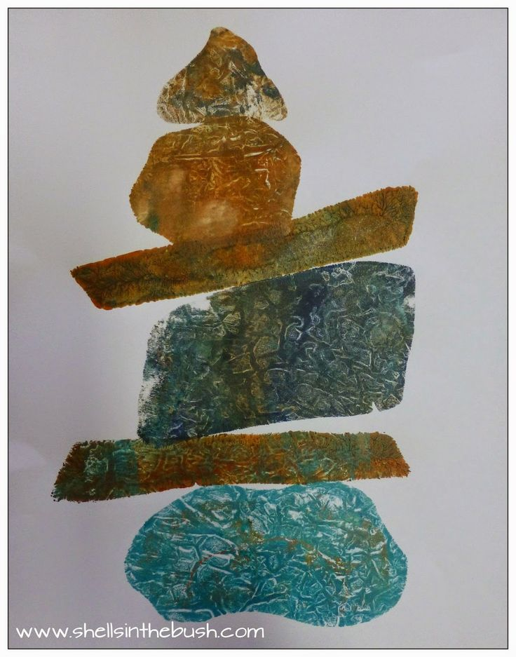 Gelli Print Rock Stacks After I saw this video by Jane Davies - Gel Plate Shapes - I was so inspired I just had to try this for myself.