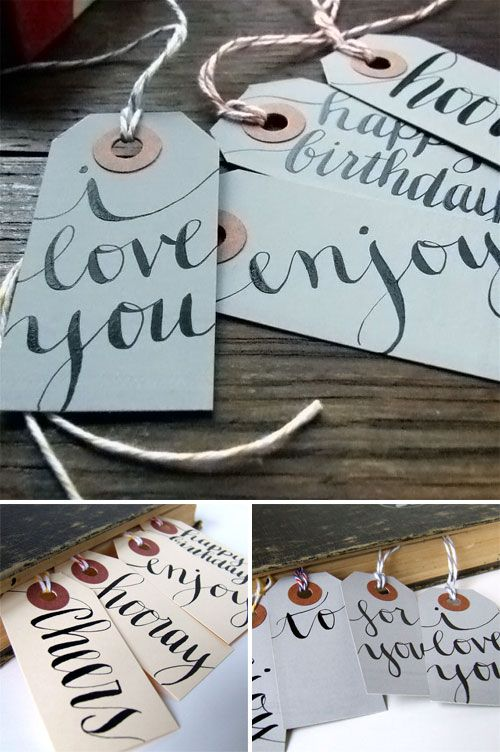 Simple calligraphy.: Names Tags, Tags Ideas, Gifts Ideas, Calligraphy Tags, Learning Calligraphy, Hanging Tags, Diy Gifts, Handmade Gifts, Gifts Tags