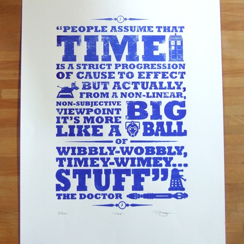 Dr Who 'Time!' Screen Print.