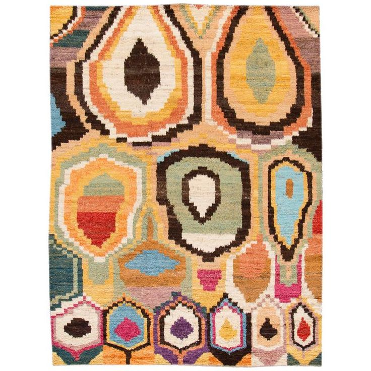 Multicolored Moroccan Style Rug | From a unique collection of antique and modern central asian rugs at https://www.1stdibs.com/furniture/rugs-carpets/central-asian-rugs/