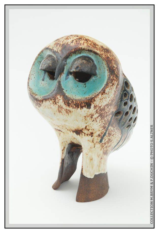 Albert Diato - Owl, glazed ceramic