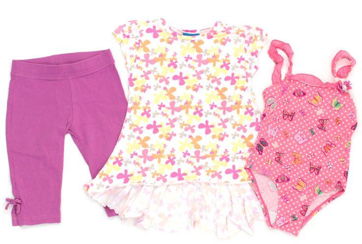 3/4 Leggings von #HM, #Tunika und #Badeanzug von #Topolino in Gr. 98 für Mädchen.