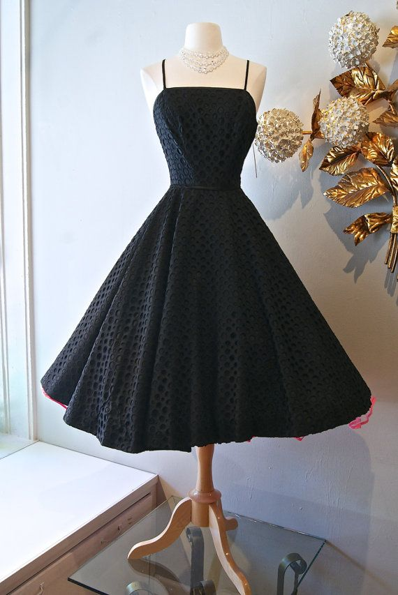 1950s Dress / Vintage 50s Arkay Black Polka Dot by xtabayvintage, $248.00