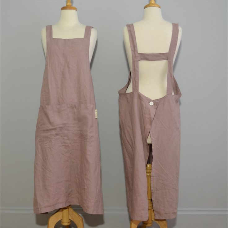 Adult 100% stonewashed French linen apron in Rosewood colour