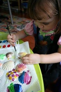 Shell Painting, you could use paint pens, glitter glue or markers instead of actual paint