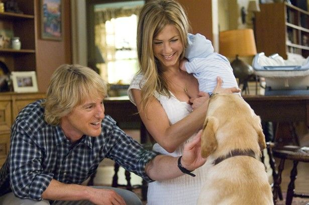 jennifer aniston and owen wilson with the new baby in marley me show time pinterest. Black Bedroom Furniture Sets. Home Design Ideas