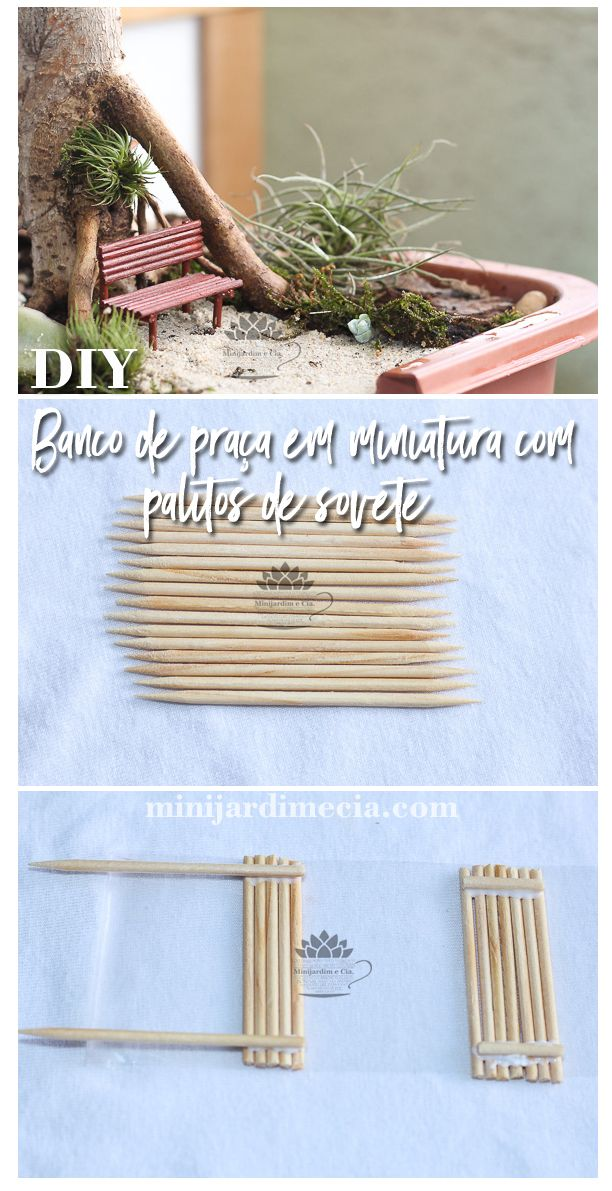 Faça você mesmo banco de praça em miniatura com palitos de dente