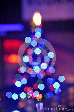 Colored lights on a Christmas tree