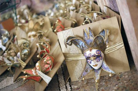favor idea for guests, keep in mind that if you're doing a Venetian wedding guests will already have masks so you could do other Venetian gifts such as Murano glass pieces, wine bottle toppers, etc..
