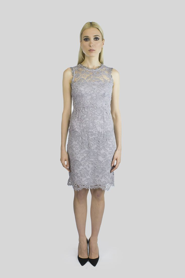 A grey lace short dress, perfect for wedding, work, date