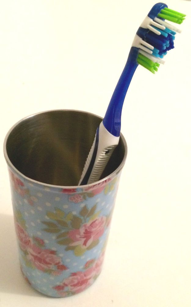 Toothbrush Holder Stainless Steel With Floral Pattern