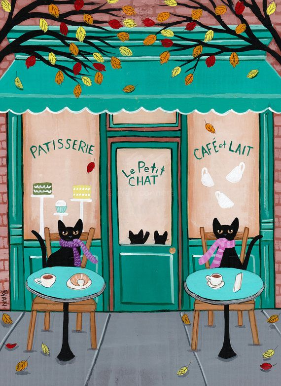 The Cats Patisserie and Cafe - Original Folk Art Painting by KilkennycatArt