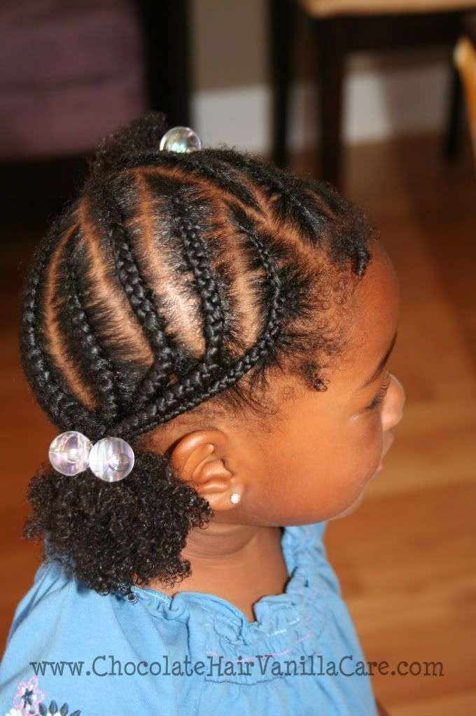 Several cornrows with braids all being pulled into a single puff.