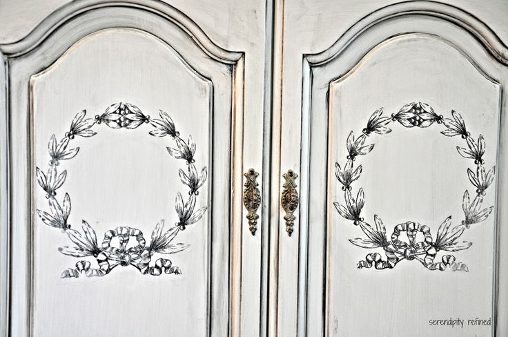 Serendipity Refined: Before and After: La Craie Gray and White French Painted Cabinet Makeover