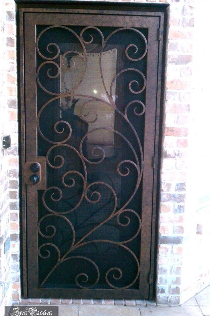 Iron Door Security Wrought Iron Window Screen Metal Glass In 2020 Metal Screen Doors Security Screen Door Wrought Iron Security Doors