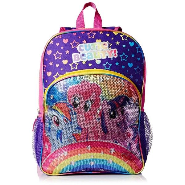 """AmazonSmile: My Little Pony Full Size 16"""" Rainbow Backpack - """"Cutie... ($13) ❤ liked on Polyvore featuring bags, backpacks, rainbow backpack, rainbow bag, rucksack bag, backpacks bags and my little pony backpack"""