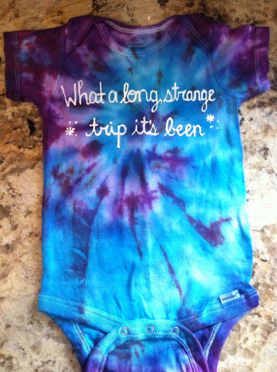 What a long strange trip it's been, tie dye grateful dead onesie, Jerry Garcia, hippie baby toddler by LittleDeadHeads on Etsy $15