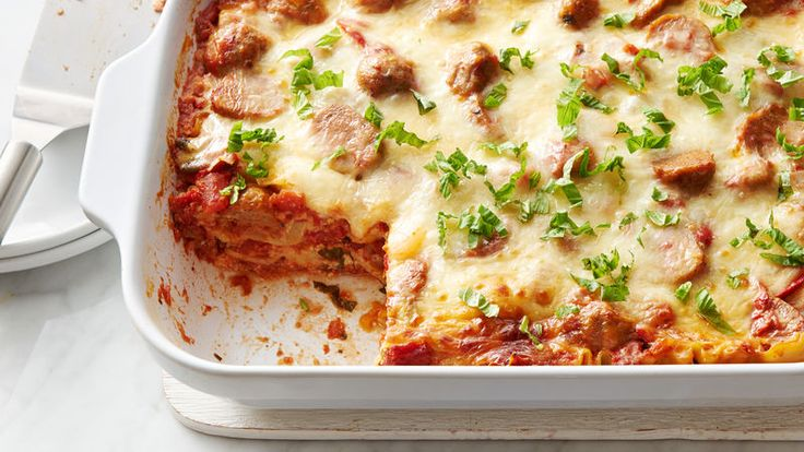This delicious, saucy lasagna is packed with tasty meatballs that you can make ahead!