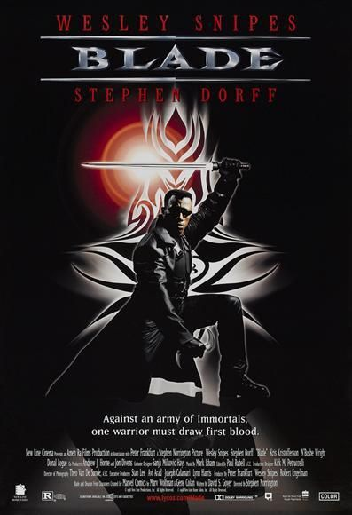 """CAST: Wesley Snipes, Stephen Dorff, Kris Kristofferson, N'Bushe Wright, Donal Logue, Udo Kier, Traci Lords, Tim Guinee, Arly Jover, Sanaa Lathan; DIRECTED BY: Stephen Norrington; WRITTEN BY: David S. Goyer; CINEMATOGRAPHY BY: Theo van de Sande; MUSIC BY: Mark Isham. PRODUCER: Peter Frankfurt, Wesley Snipes, Robert Engleman, Lynn Harris, Stan Lee, Avi Arad, Joseph Calimari, Amen Ra, Imaginary Forces, New Line Cinema. Features:    11"""" x 17""""   Packaged with care - ships in sturdy reinforced…"""