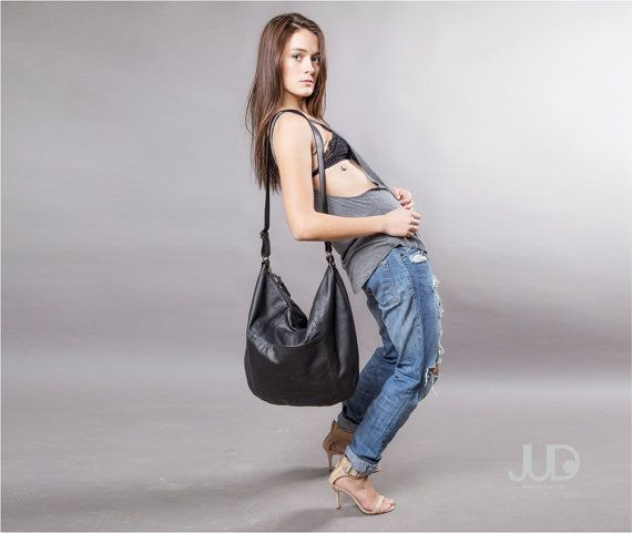 Black Leather bag  large leather purse SALE FREE by JUDtlv on Etsy