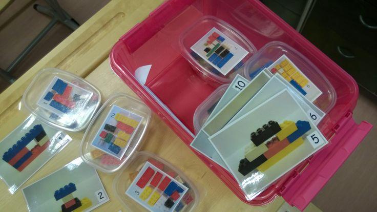 Matematiikkamateriaalia; rakentelu legoista mallikuvan avulla. Työskentelyssä mallikuva toisella puolella luokkaa, jossa saa käydä katsomassa mallia ja palata omalle paikalleen rakentamaan muistinvaraisesti.