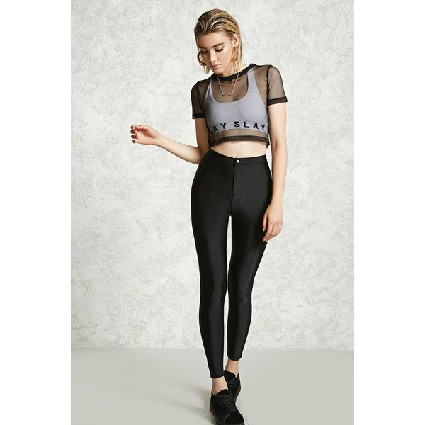 Forever21 Satin High-Waisted Pants ($15) ❤ liked on Polyvore featuring pants, black, high-waisted trousers, zipper trousers, high-waist trousers, high-waisted pants and forever 21 pants