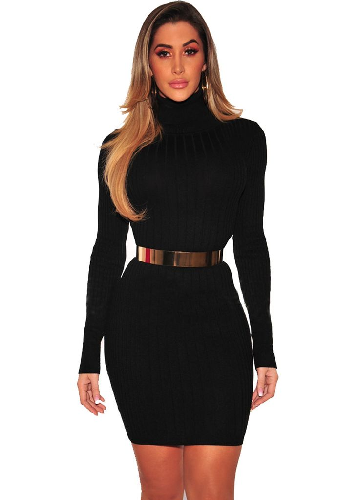 Long Sleeve Ribbed High Neck Dress_Plus size Dress_Plus size Clothing_Sexy Lingeire | Cheap Plus Size Lingerie At Wholesale Price | Feelovely.com