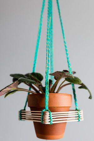 Popsicle stick hanger terracotta planter