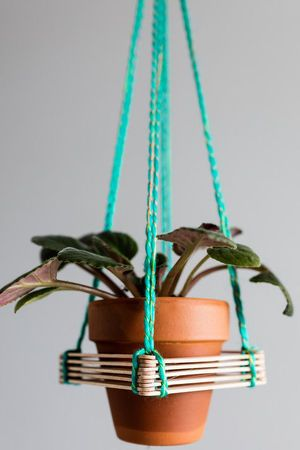 Popsicle stick hanger terracotta planter