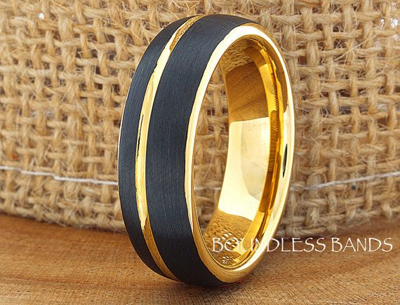 Black Tungsten Wedding Ring And Yellow Band Mens Womens Anniversary His Hers Promise Comfort Fit Free Laser Engraving