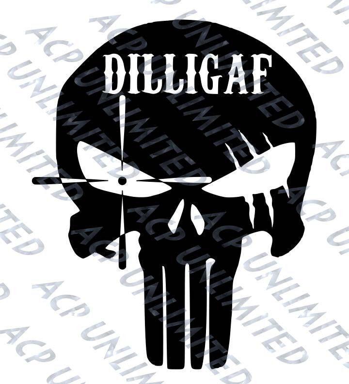 DILLIGAF PUNISHER SKULL DECAL STICKER WINDOW PINK WHITE CHROME AUTO WALL LAPTOP