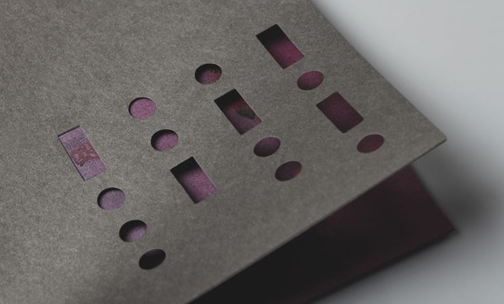 Print with black and purple paper and die cut detail for South Place Hotel's private members club