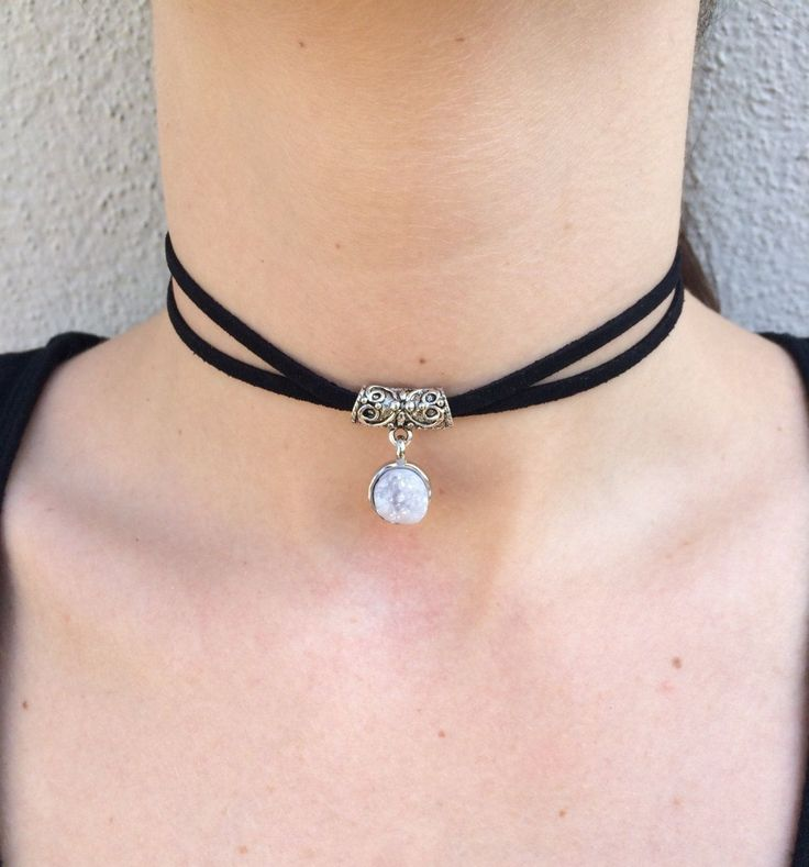 Druzy Crystal Black Suede Choker by SoulaceJewelry on Etsy https://www.etsy.com/listing/294086581/druzy-crystal-black-suede-choker