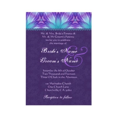 Aqua Blue And Royal Purple Wedding Card