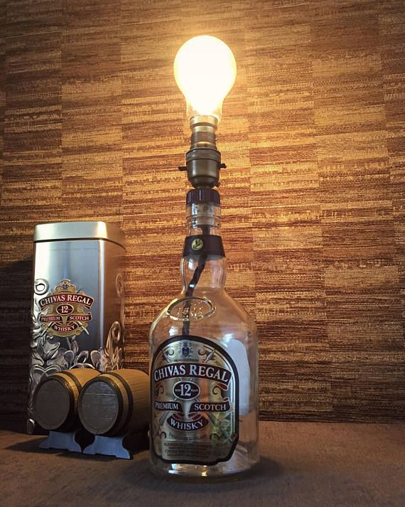 Chivas Regal Whisky Bottle Lamp With Edison Bulb Upcycled 70cl