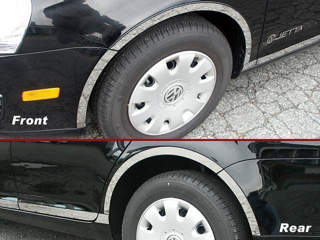 QAA PART WQ25666 fits JETTA 2005-2010 VOLKSWAGEN (4 Pc: Stainless Steel Wheel Well Accent Trim w/ 3M Adhesive & Black Rubber Gasket, 4-door) WQ25666
